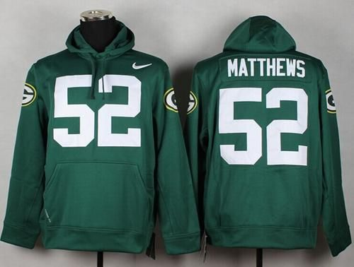 Top Green Bay Packers #52 Clay Matthews Green Pullover NFL Hoodie