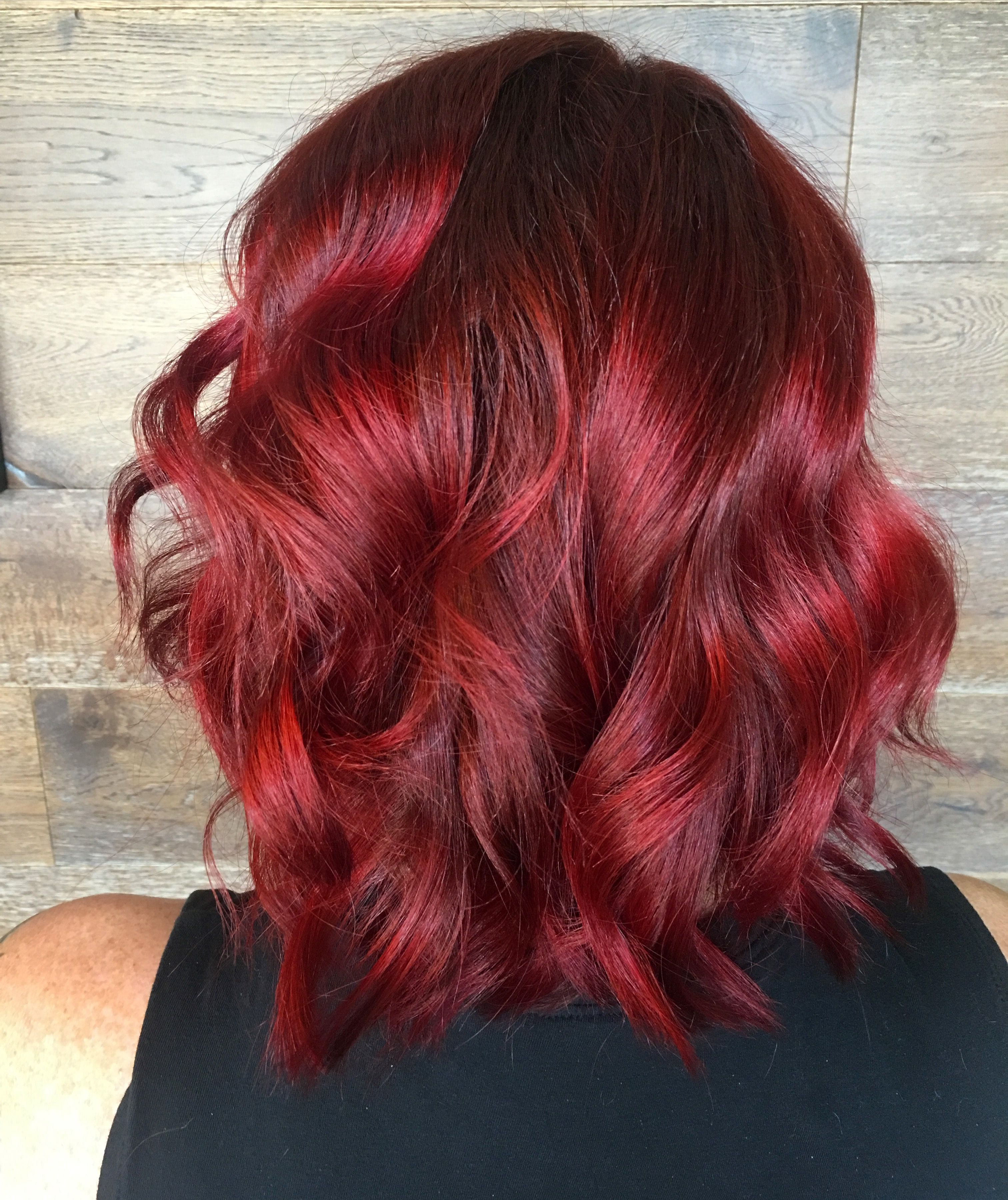 Fiery Red With Red Violet Shadow Root Vibrant Red Bright