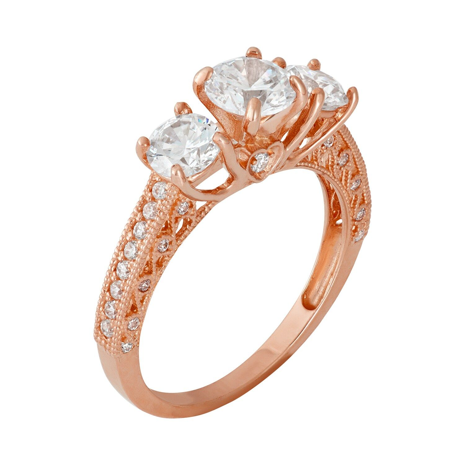 Cubic Zirconia 3 Stone Engagement Ring In 10k Rose Gold In 2020 3 Stone Engagement Rings Stone Engagement Stone Engagement Rings