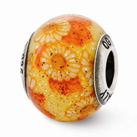 Reflection Beads Sterling Silver Italian Murano Orange Floral Decorative Overlay Glass Bead