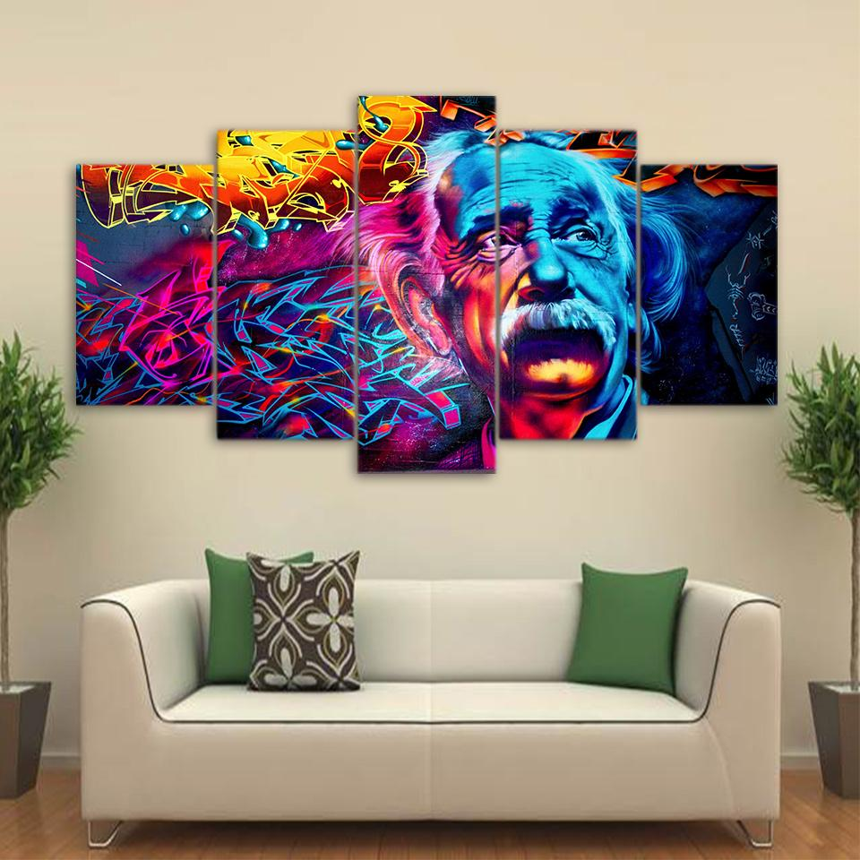 Hd Printed 5 Piece Canvas Art Abstract Einstein Painting Psychedelic Color Wall Pictures For Living Room Free Shipping Cu 1658b Walldecor Interiordesigner