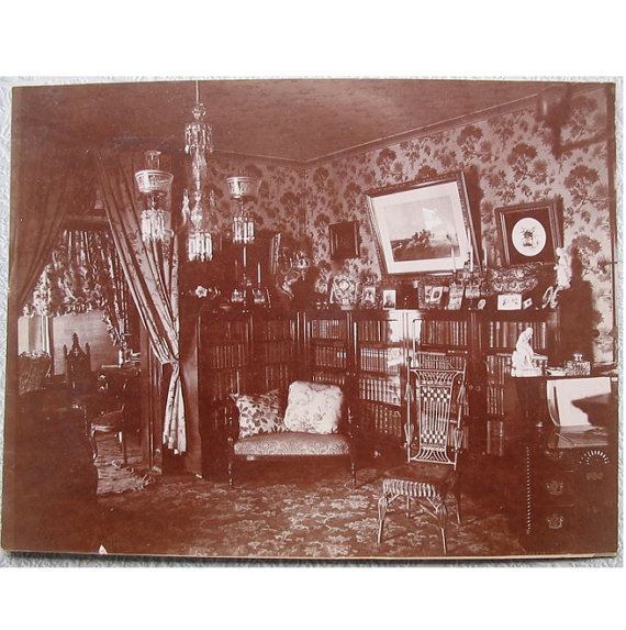 Antique PHOTOGRAPH of VICTORIAN INTERIOR -- Historical Document of
