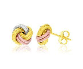 14k Tri Color Gold Love Knot Earrings | LeBlanc Jewelry