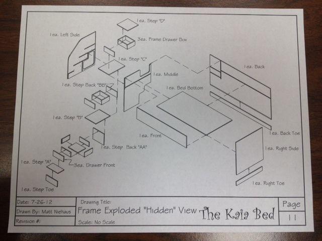 Kids Bed Blueprint Woodworking DIY Plans Drawings Project CNC Boy - copy blueprint design & draft