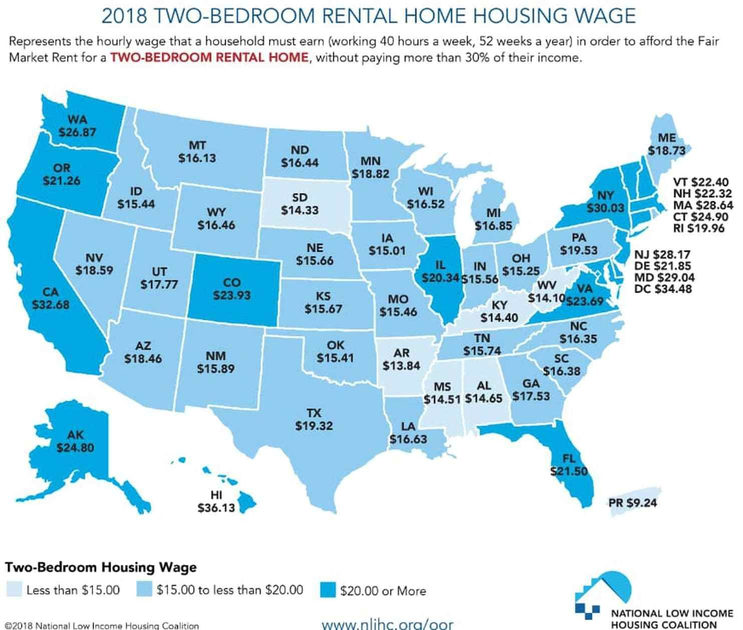 Full Time Minimum Wage Workers Can T Afford The Rent On A 2 Bedroom Apartment Anywhere In The Usa Boing Boing Low Income Housing Income Rent