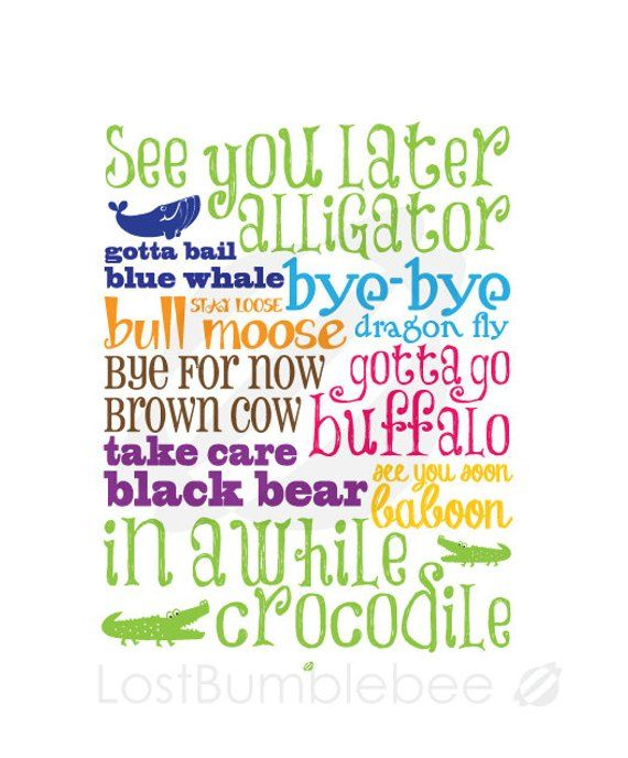 graphic about See You Later Alligator Poem Printable called Farewells! Check out Your self Afterwards Alligator, Inside of Awhile Crocodile