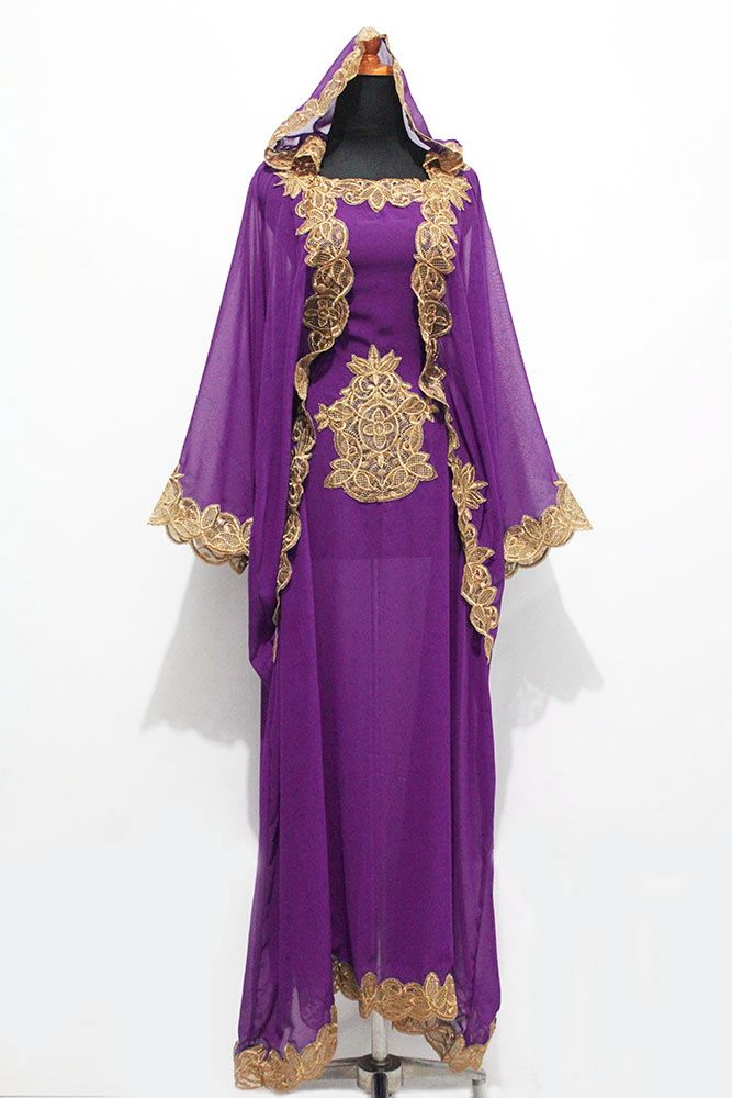 Exclusive Elegant Moroccan Purple Chiffon Hoodie Kaftan Maxi Dress ...