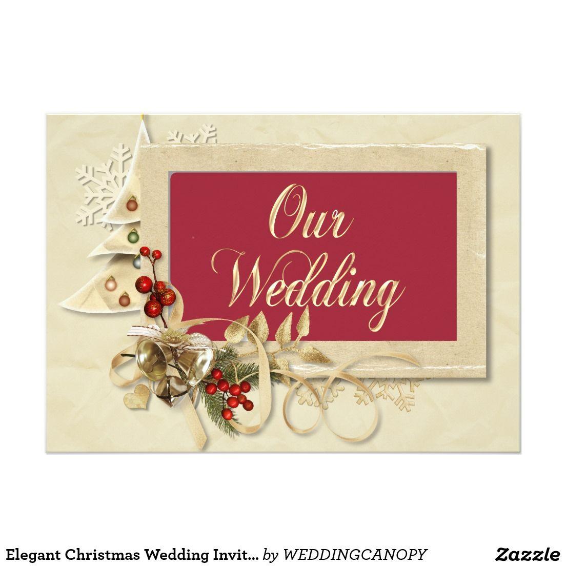 Elegant Christmas Wedding Invitation With Tree | Wedding Themes ...