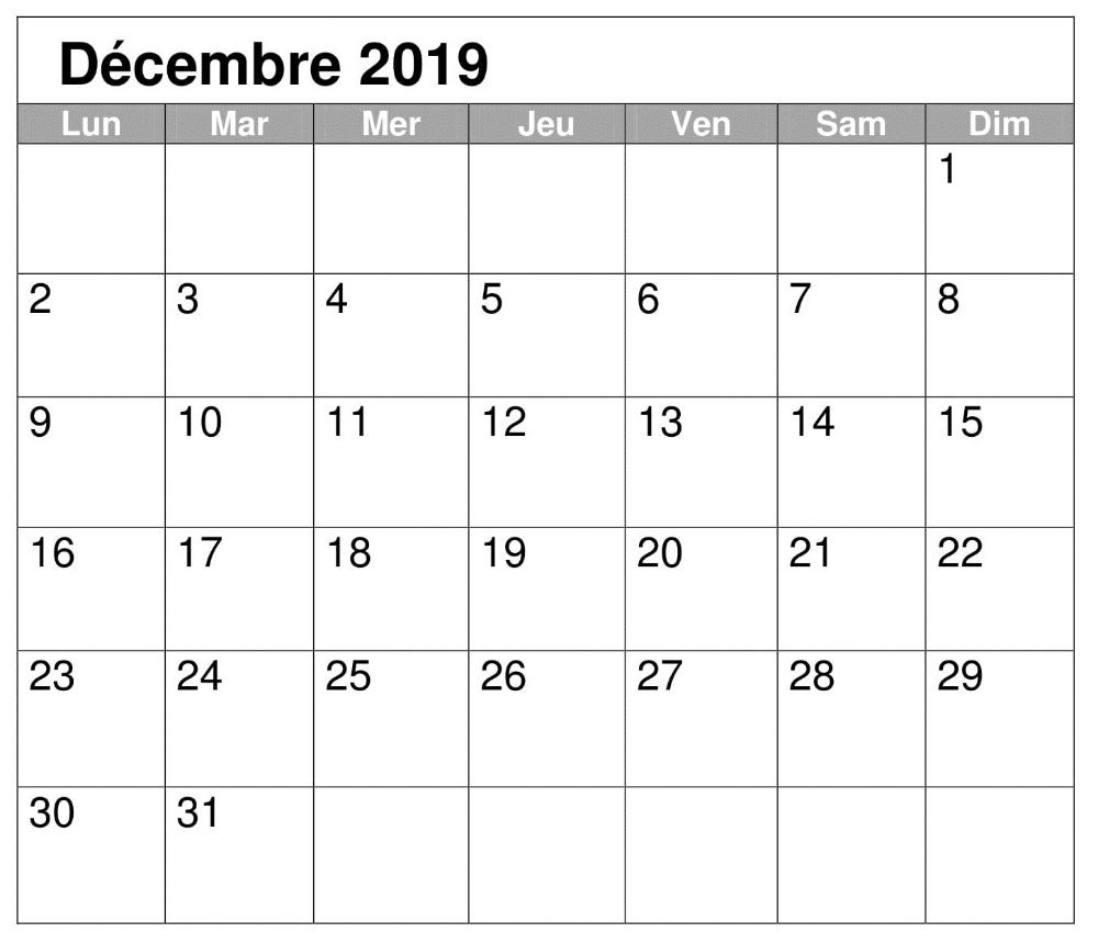 PDF Calendrier 2019 Décembre Calendar, 2019 calendar, Words
