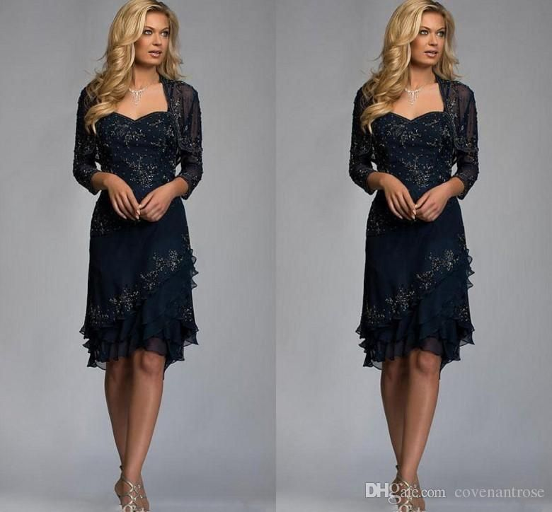 Navy Blue Knee Length Mother Of The Bride Dresses With Jacket Lace