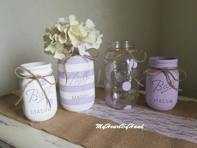 Distressed Mason Jar Set  Baby Shower Centerpieces  Pained