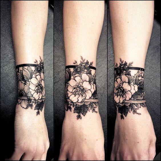 Creative Ideas Tattoo Women Creative Design Black Grey Black Work Tattoos Creativetatto Work In 2020 Cuff Tattoo Wrist Tattoo Cover Up Tattoos