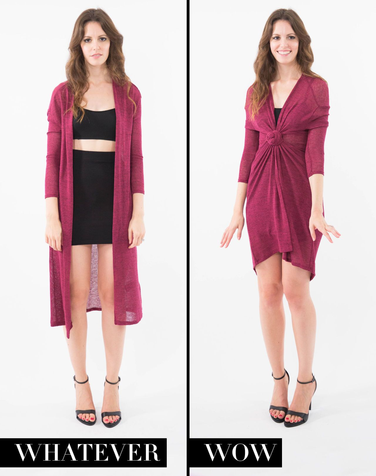 b8651f74ee Transform a long cardigan into a sophisticated cocktail dress by knotting  it closed in the center. From  6 Ways Knotting Your Clothes Can Change Your  Whole ...