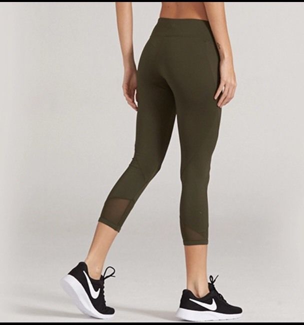 6ce00ff68e83f Olive Green Fitness Gym Workout Yoga Women Legging Cropped With Mesh S 8UK