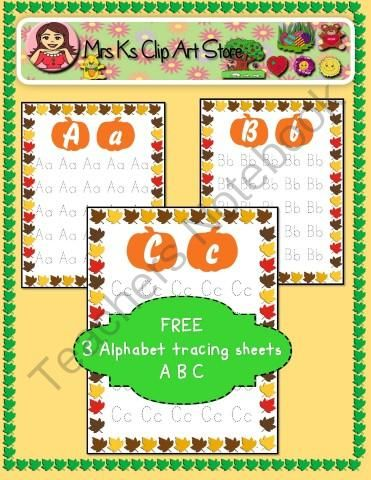 Free ABC tracing sheets from Mrs.Ks little clip art store on ...