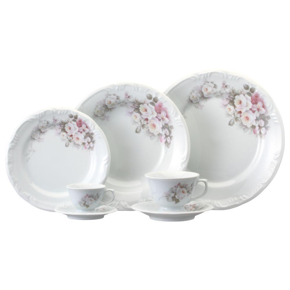 Aparelho De Jantar 30 Pecas Eterna Floral Em Porcelana Schmidt