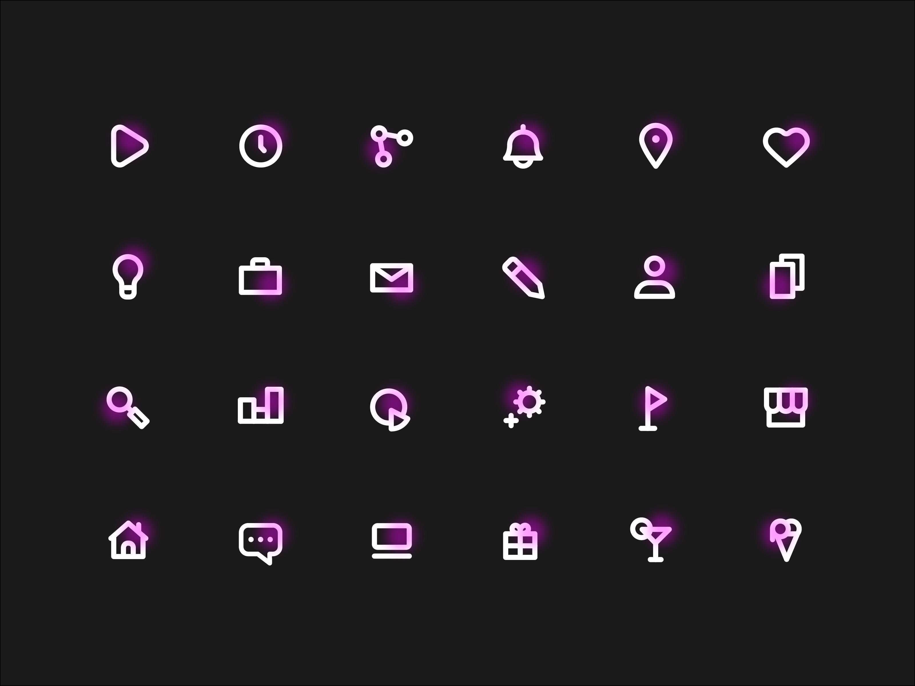 Neon Icons Freebie Графический дизайн, Пиктограмма, Проекты