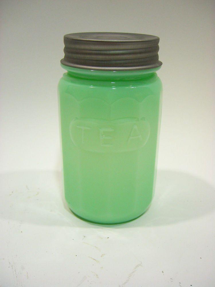 JADEITE GREEN GLASS TALL TEA JAR CANISTER W/ Metal Lid