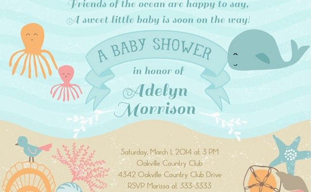 BabyZone: 14 Ideas for a Beach-Themed Baby Shower  | Beach Theme Shower Invite