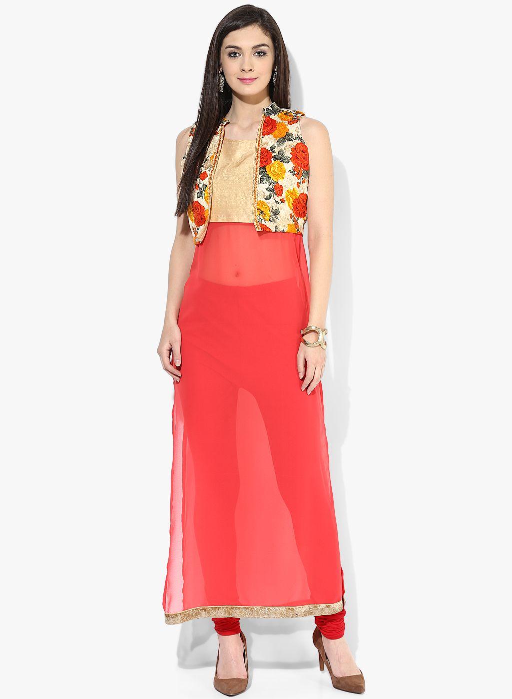 e1fdacd801 Raindrops Orange And Beige Embellished Kurti With Koti @ Looksgud.in  #Ethnic #Designer #Raindrops #Kurti #Orange #IndianWear