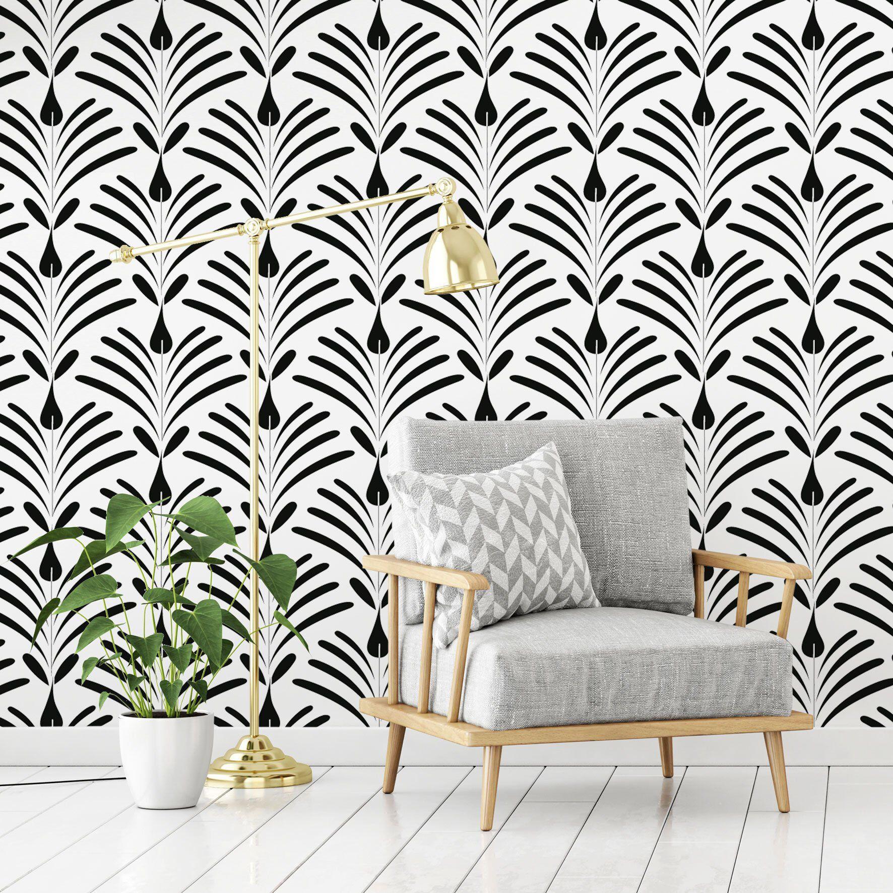 Black and White Geometric Wallpaper, Self Adhesive