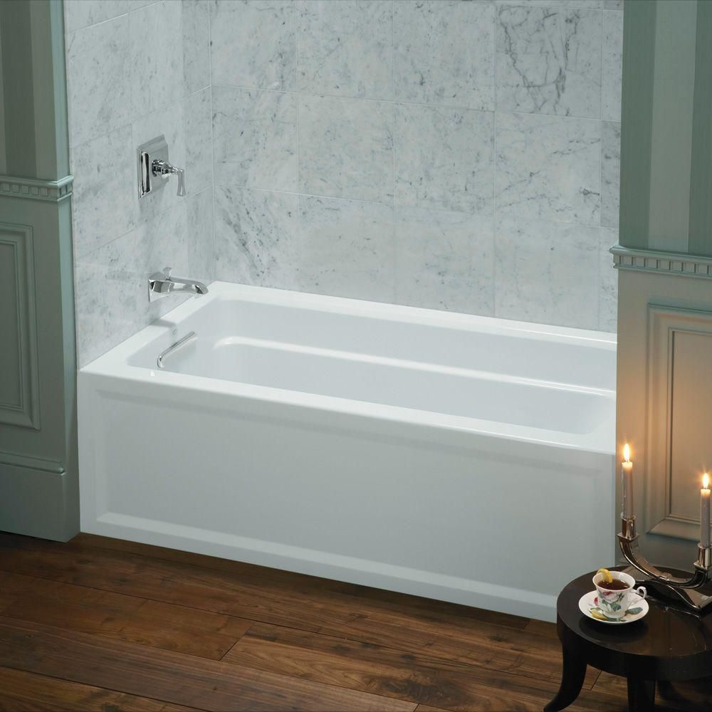 Kohler Archer 5 Ft Left Hand Drain Soaking Tub In White K 1123 La 0 At The Home Depot