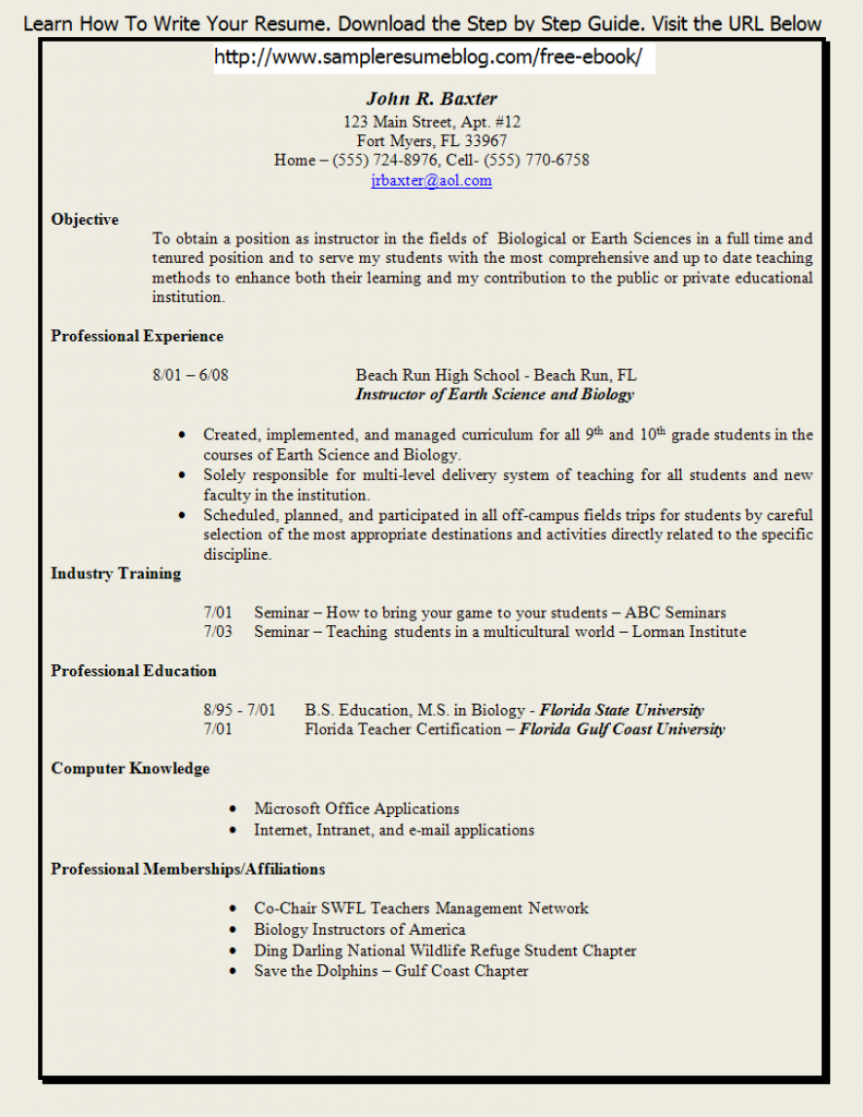 student teaching resume samples