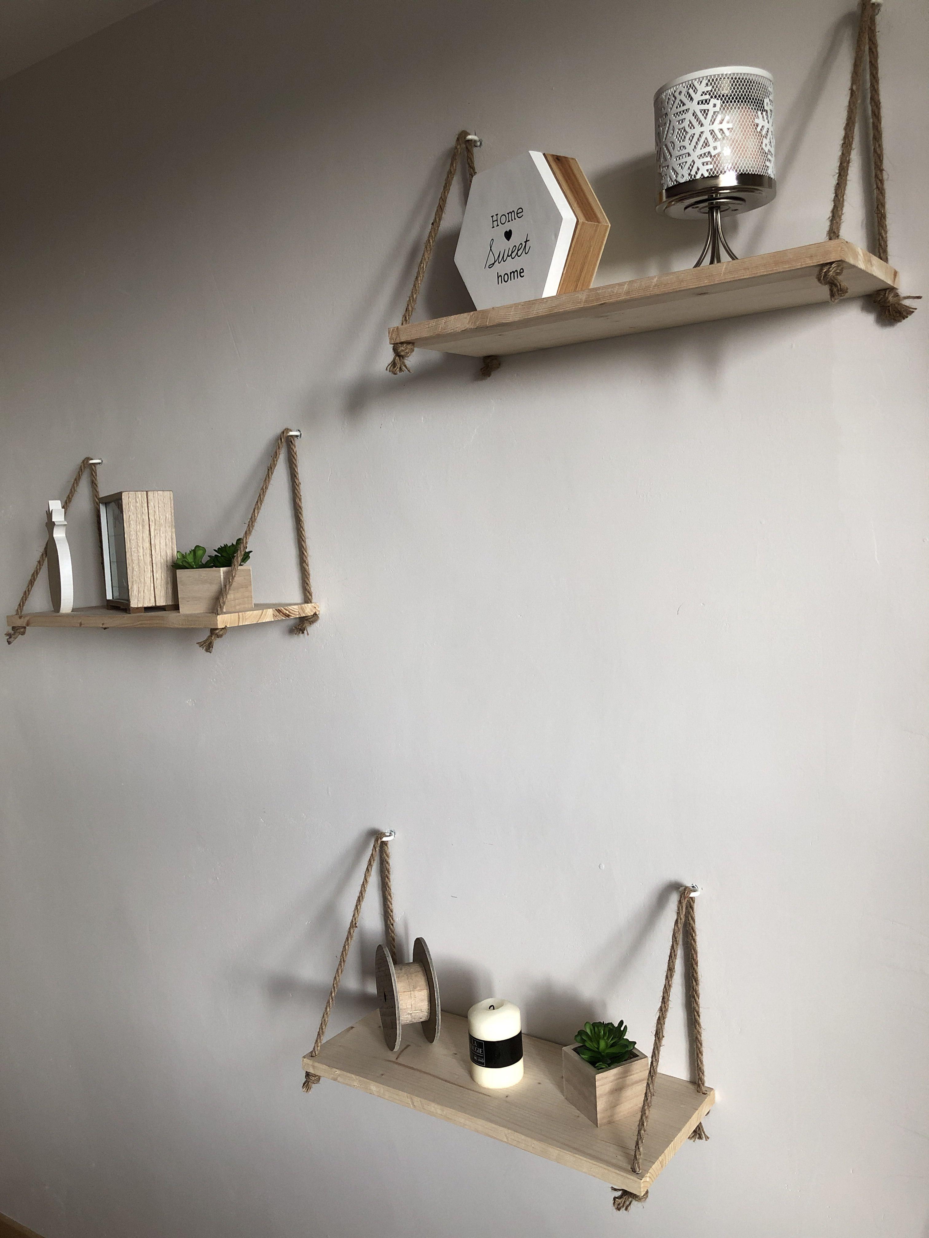 Étagère  Étagère avec corde, Étagère bois, Décoration maison