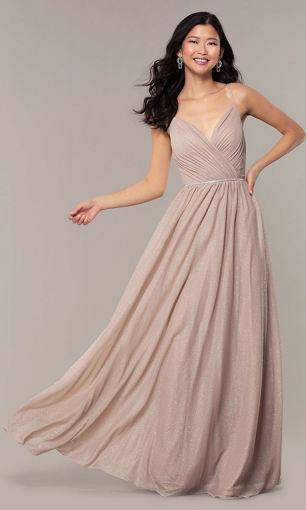 6478dd93 V-Neck Long Glitter Prom Dress with Pleated Bodice in 2019 | dressy ...