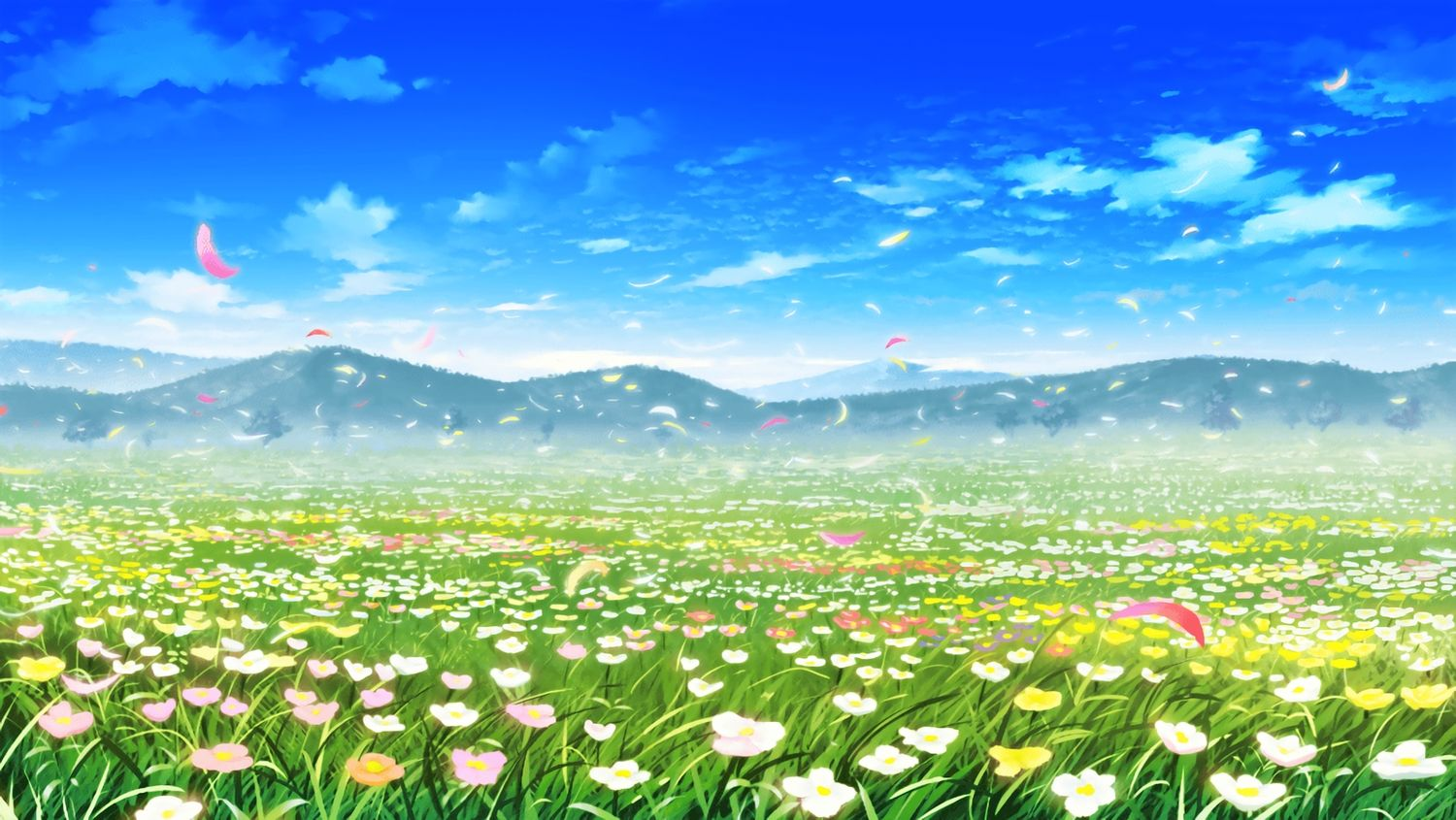 Clouds Flowers Grass Landscape Nobody Petals Scenic Sky Tagme Artist Anime Backgrounds Wallpapers Anime Background Anime Scenery