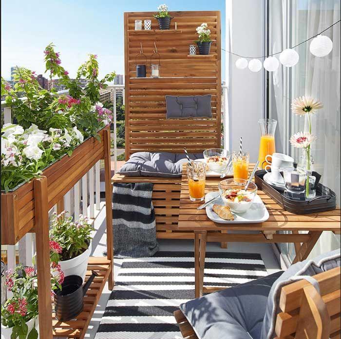 balkon sichtschutz natur mit sichtschutz bank akazienholz und holz stuhl mit kissen und. Black Bedroom Furniture Sets. Home Design Ideas