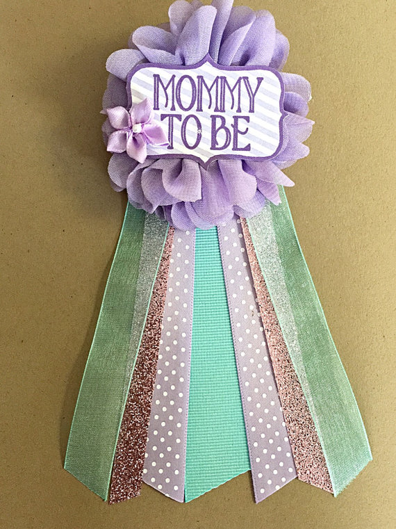 Baby Shower Purple Teal Aqua Baby Shower Corsage Pin Baby Etsy