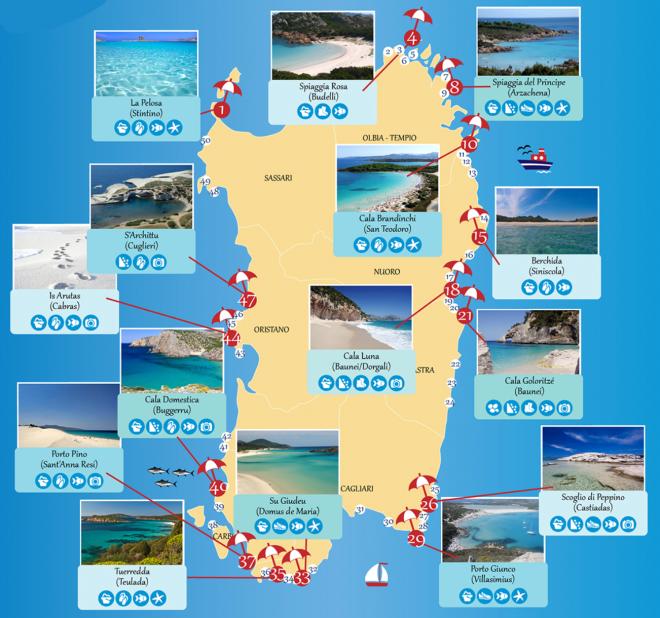 sardenha mapa Mapa da sardenha praias em destaque | Sardinia   Italy  sardenha mapa