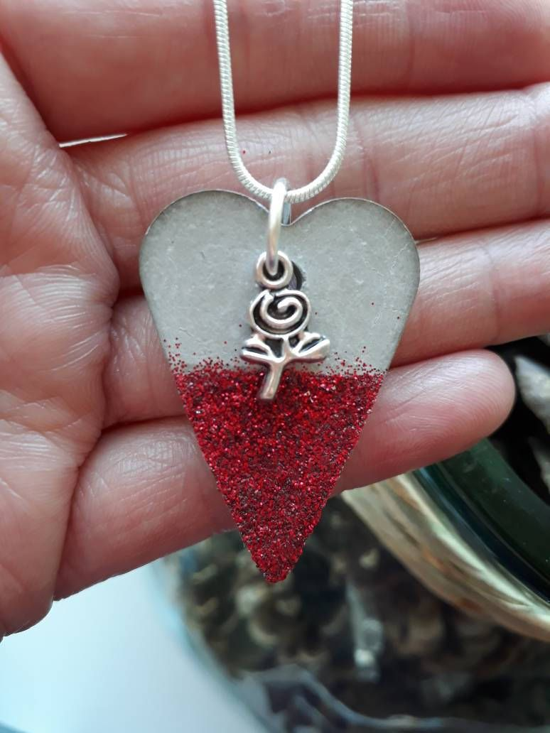 Dark Red Painted Concrete Necklace