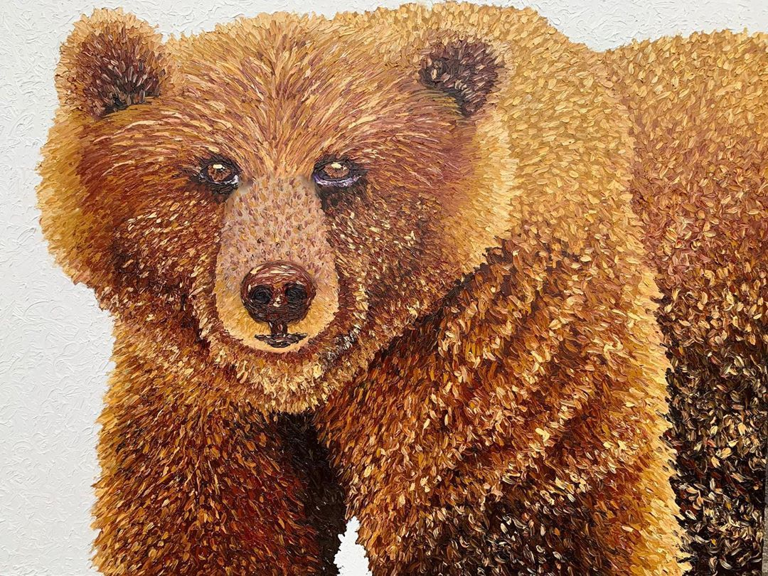 "My newest painting: ""Grizzly"" on a 3x4 FOOT canvas!!!! 😍🙌🏻 . . ."