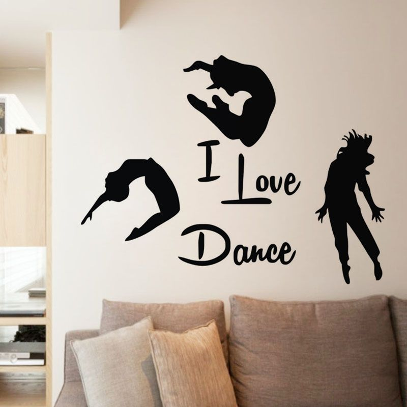 Ehome I Love Dance Wall Stickers Home Decor Three Dancers Wall