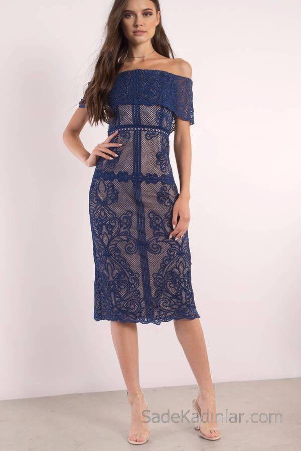 Lacivert Midi Boy Elbise Straplez Gupur Dantelli The Dress Elbise Yazlik Kiyafetler