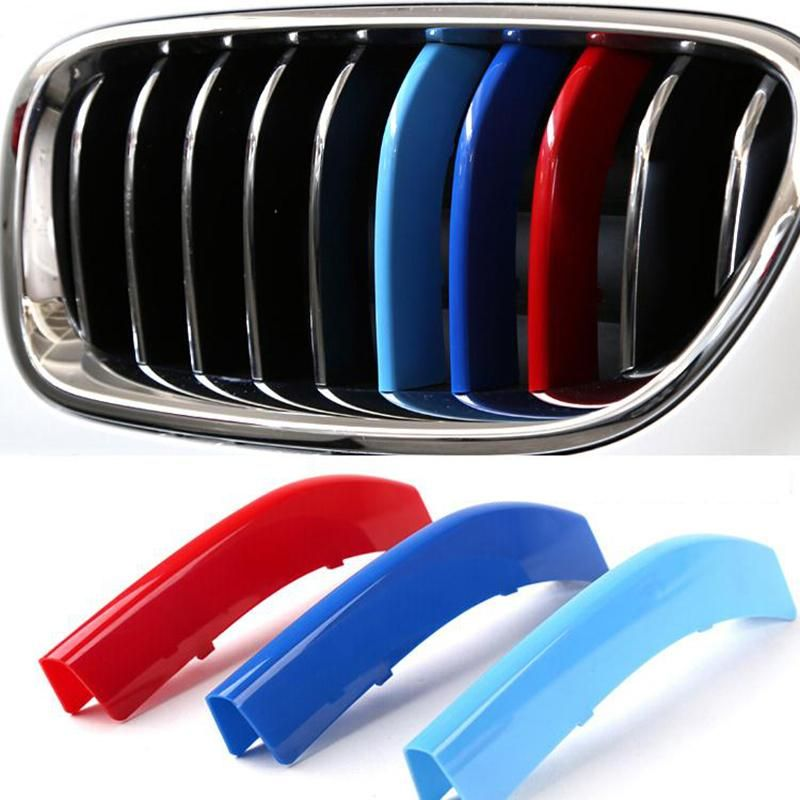 3 Colors ABS 3D M Car Styling Front Grille Trim Strips Cover Motorsport Stickers for 2013 2014 2015 BMW 3 Series F30