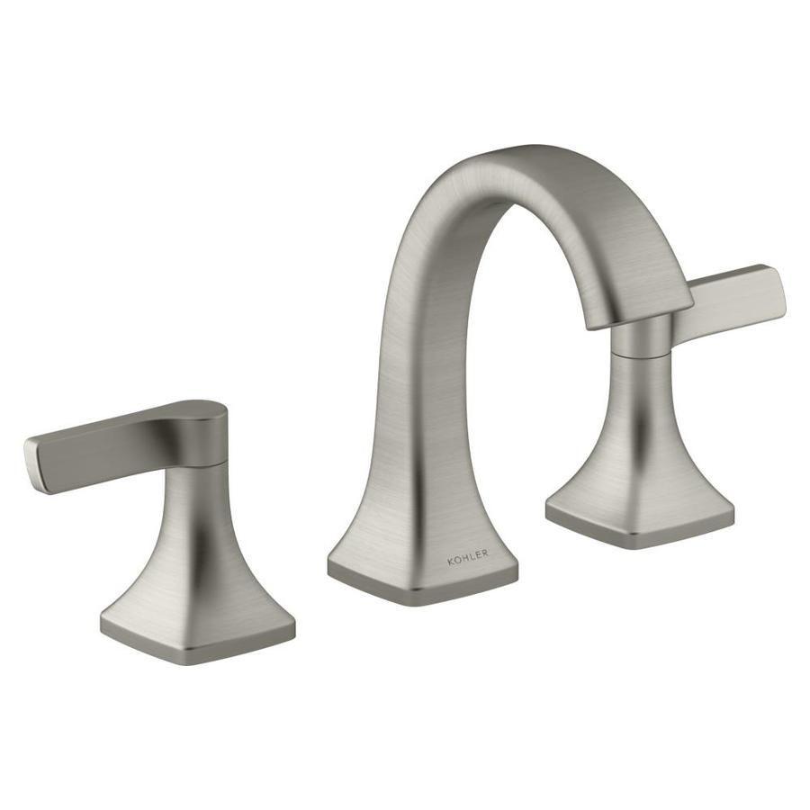 Kohler Maxton Brushed Nickel 2 Handle Widespread Bathroom Faucet Bathroom Faucets Brushed Nickel Widespread Bathroom Faucet Water Sense