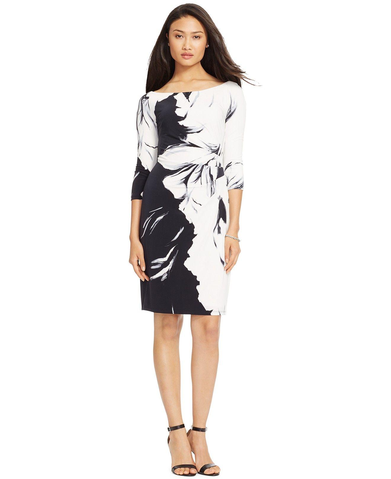705069d8061 Lauren Ralph Lauren Floral-Print Three-Quarter-Sleeve Dress - Dresses -  Women - Macy's