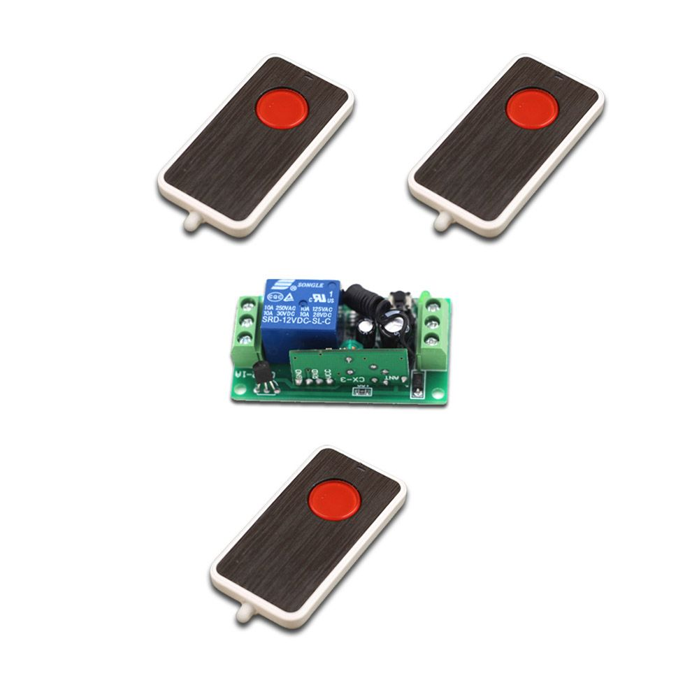 Dc9v 12v 24v 1ch Rf Switching 3transmitter 1 Receiver Wireless Switch Circuit Remote Control System Manual Button