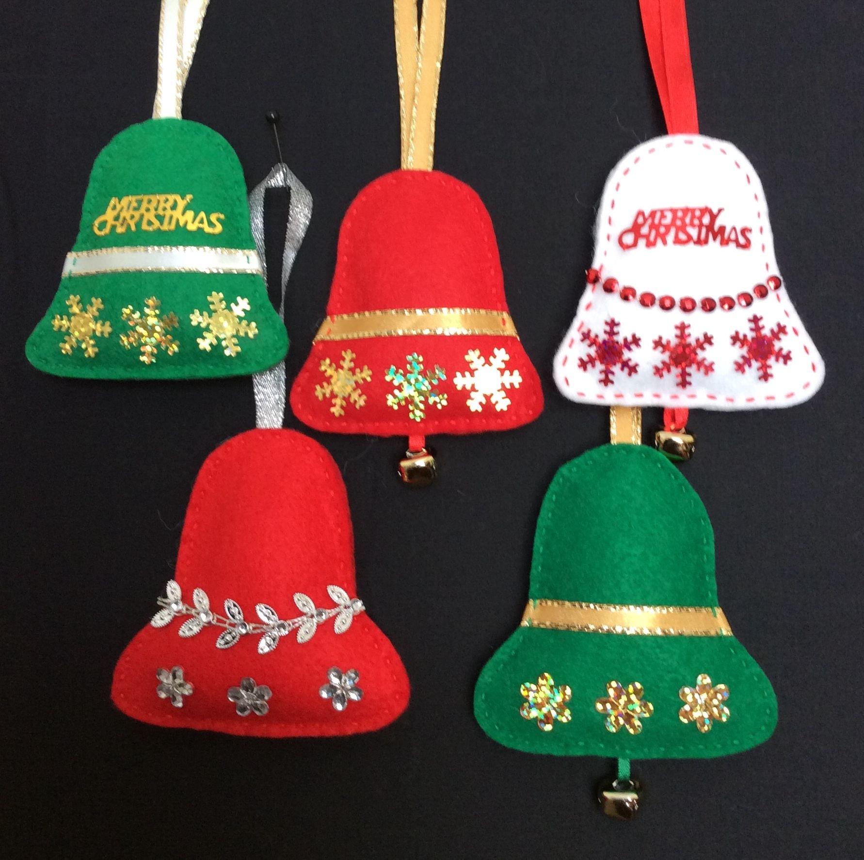Felt Bells Felt Christmas Ornaments Felt Crafts Christmas Felt Christmas Decorations