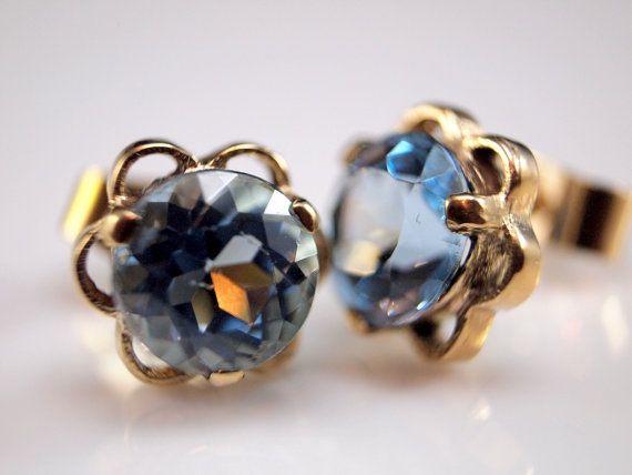 Gold blue Zircon Earrings Blue Gemstone stud by BelmontandBellamy, £45.00