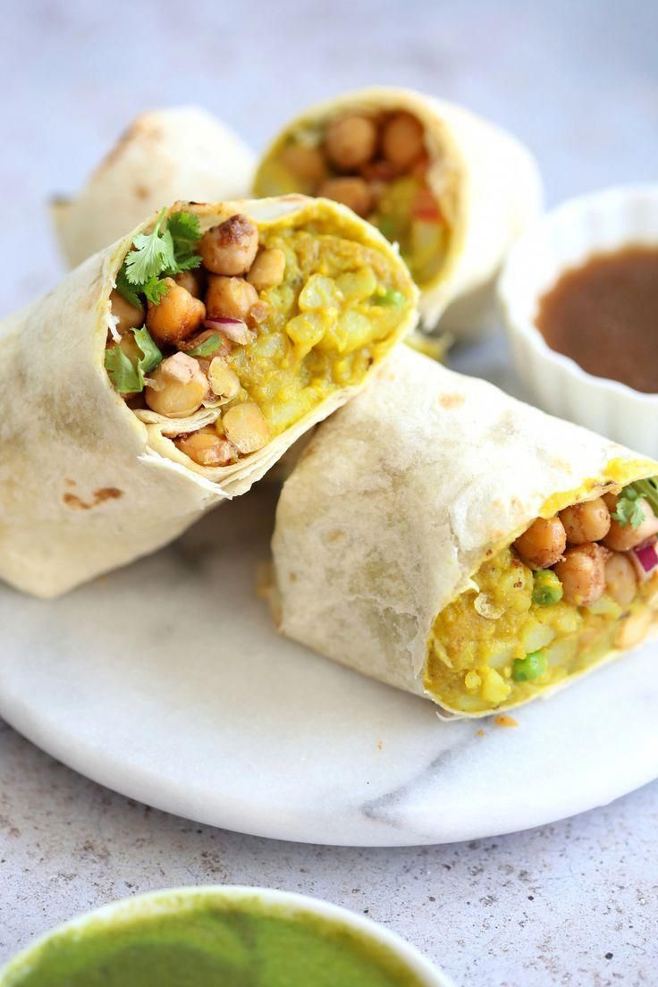 Samosa Wraps - Spiced Potatoes, Chickpeas, Chutney Burrito. Easy Spiced Potato Chickpea Burrito for lunch, picnic or carry out. Easily