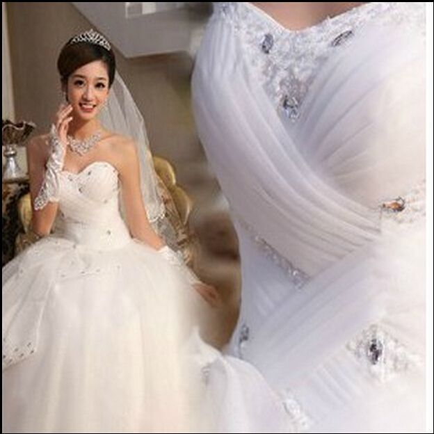 DX0010 Corset lace up 2014 2015 Beads strapless Crystal Sweetheart Lace White Wedding Dresses for brides plus size maxi formal -in Wedding Dresses from Apparel & Accessories on Aliexpress.com | Alibaba Group