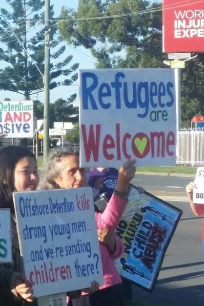 About 40 Refugee Advocates Protesting Outside Peter Dutton