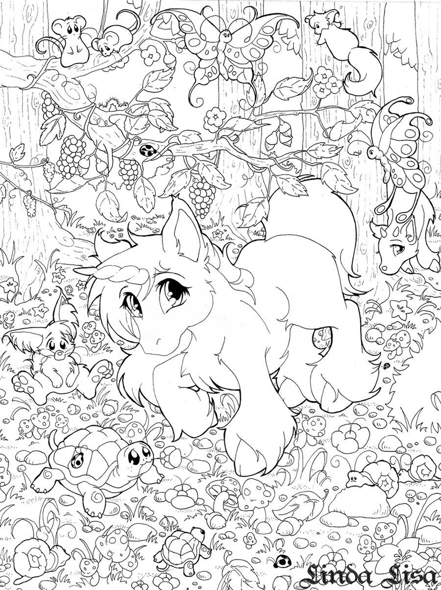 Princess and unicorn coloring pages - Cute Baby Unicorn Coloring Pages