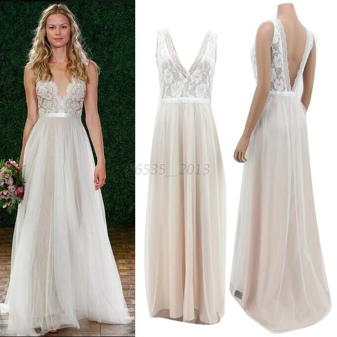 Stock New Lace Chiffon Long Tail Evening Formal Prom Dress Party Gown Ebay