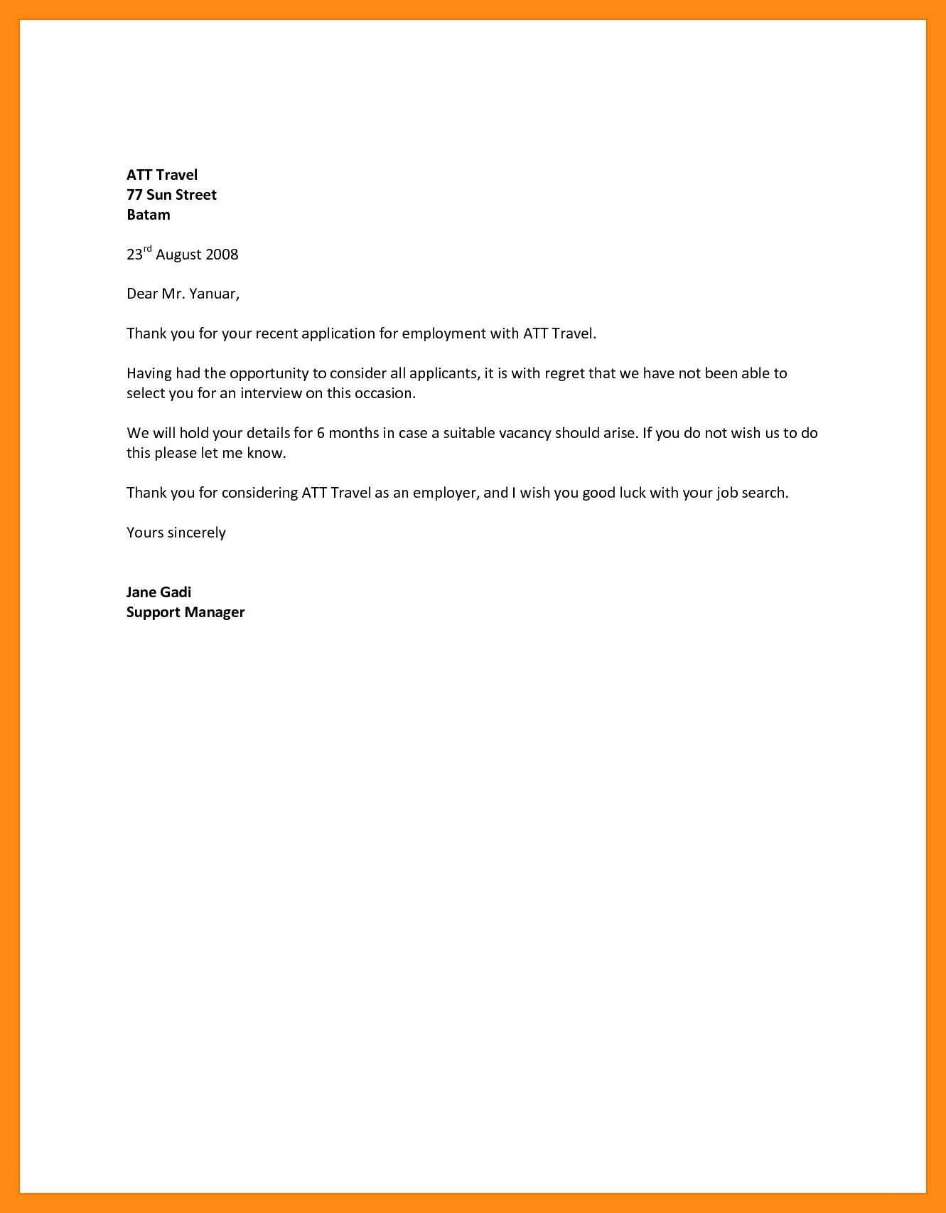 Sample Rejection Letter For Job Applicant from i.pinimg.com