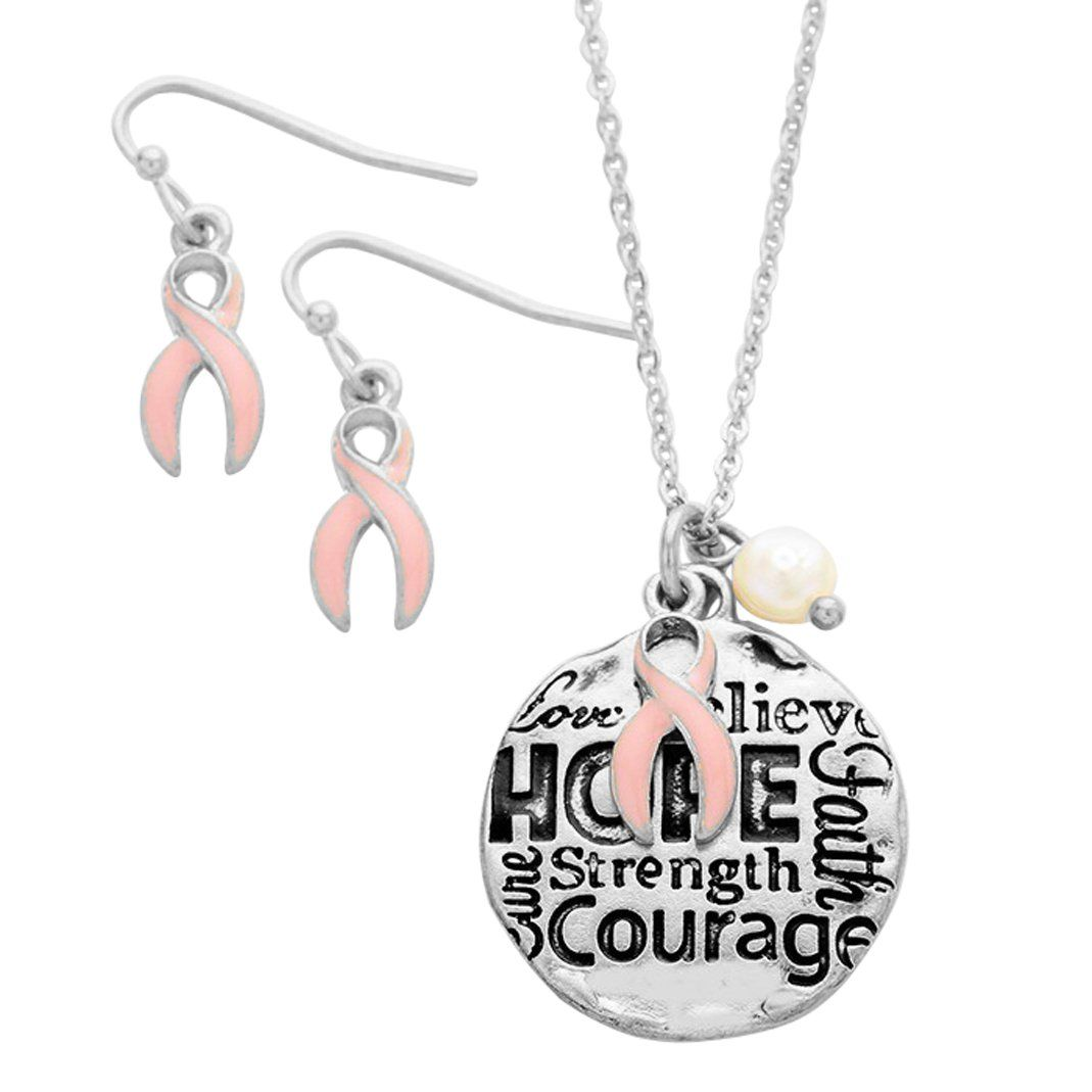 Pink ribbon earrings and charm pendant necklace gift set pink